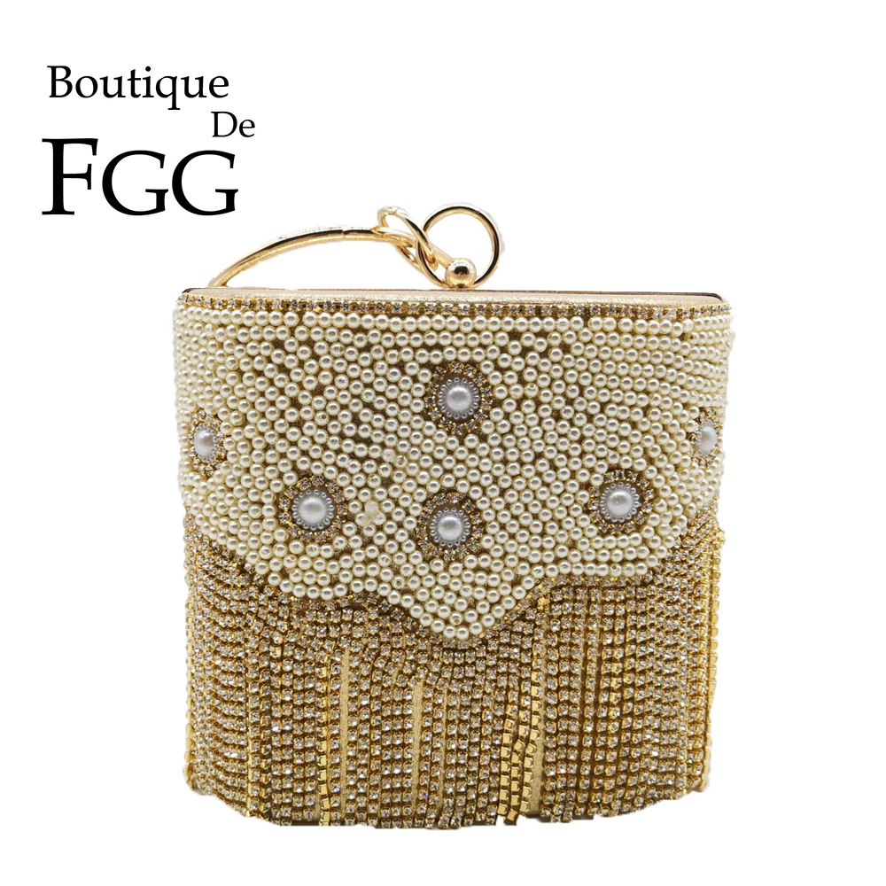 Boutique De FGG Elegant Diamond Tassels Women Gold Bucket Evening Bags Bridal Wedding Party Crystal Clutch Handbags And Purses