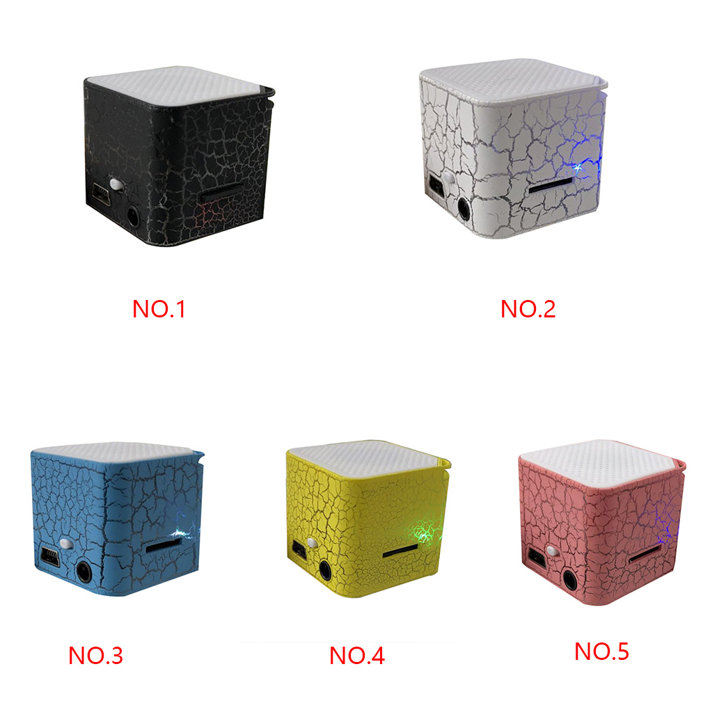 Portable Colorful Crack LED Light Small Sound Box Cube Support TF Card MP3 Player