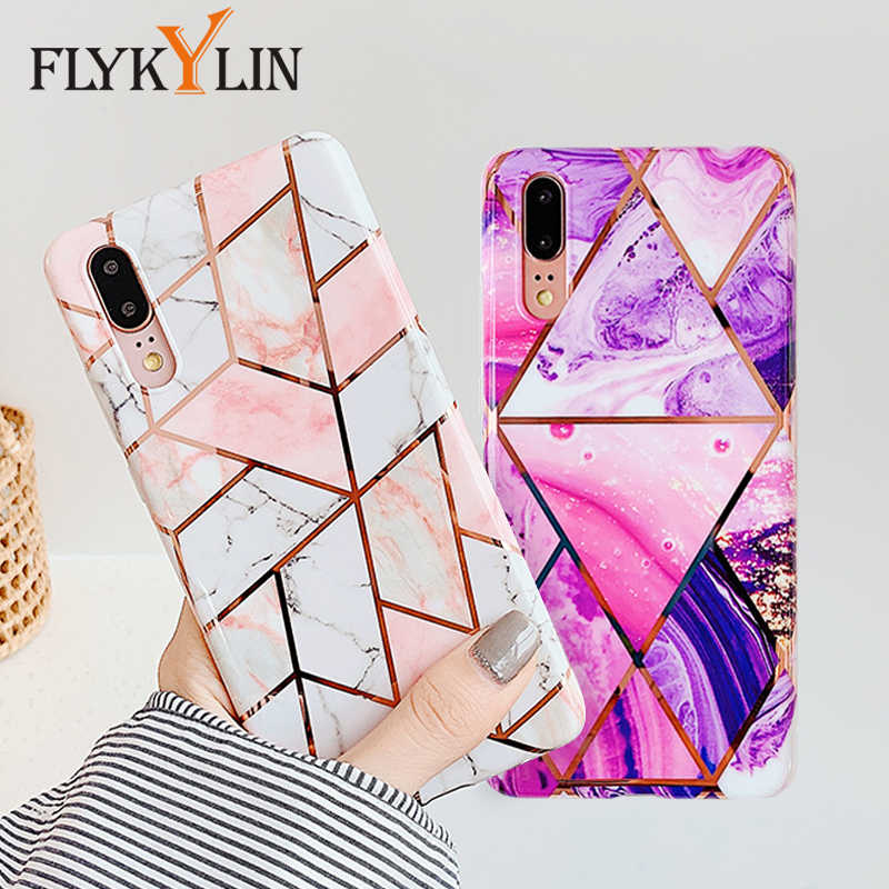 FLYKYLIN Marble Flower Case For Samsung Galaxy A40 A50 A70 Back Cover on Art Leaf Soft Silicone Phone Cases Cartoon Coque Shell