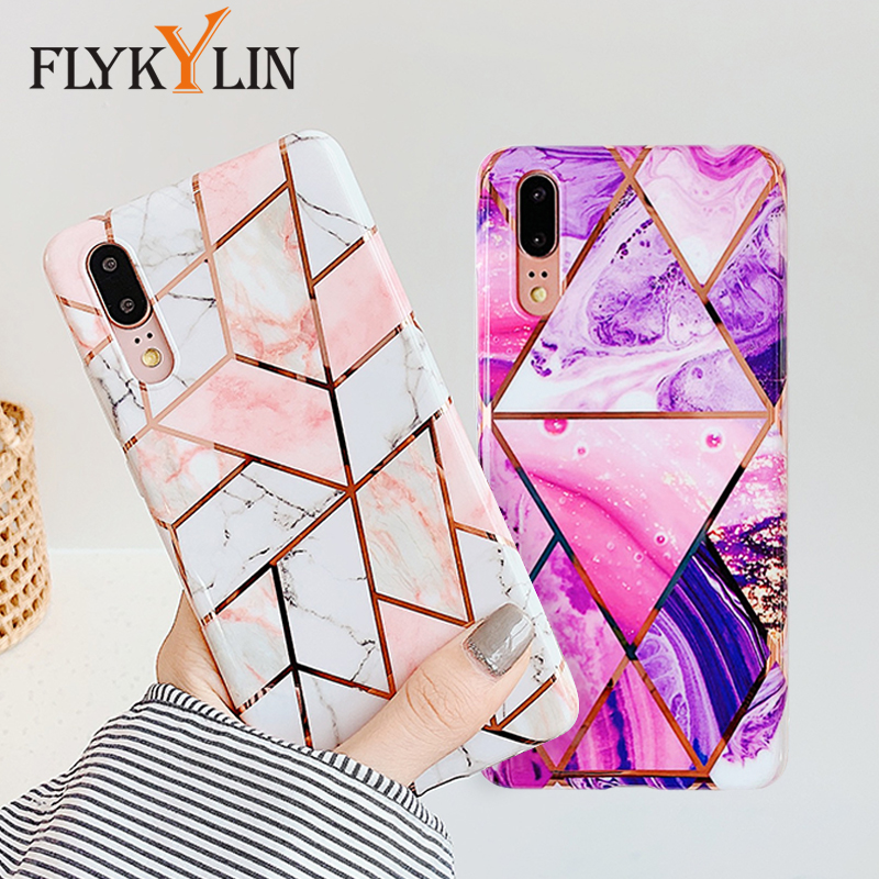 FLYKYLIN Marble Flower <font><b>Case</b></font> For Samsung Galaxy A40 <font><b>A50</b></font> A70 Back Cover on Art Leaf Soft Silicone Phone <font><b>Cases</b></font> <font><b>Cartoon</b></font> Coque Shell image