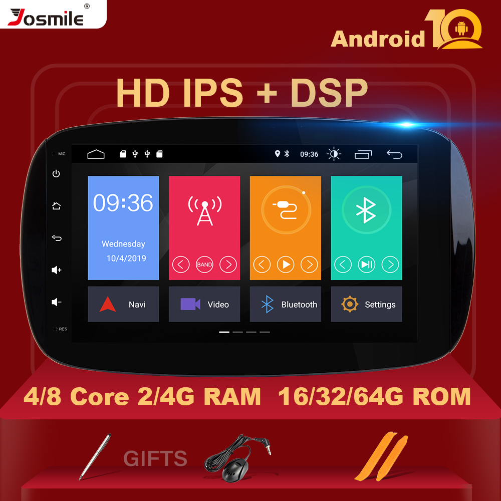 4G RAM IPS DSP Android 10 Car Radio For Mercedes/Benz Smart Fortwo 2015 2016 2017 Multimedia Player HD Stereo DAB+ Camera DVR BT