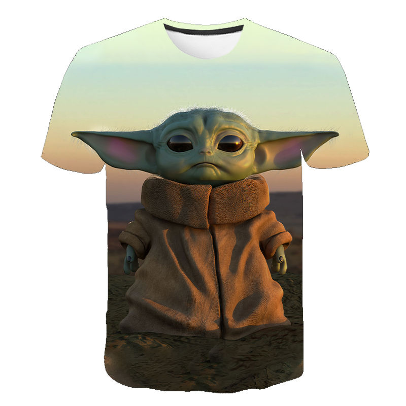 3D Printed Mandalorian Baby Yoda T Shirt Men Women Summer Short Sleeve Tops Boy Girl Children's Tees Star Wars Cool T-shirt image