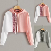Sequin Splice Women hoodie Loose Long Sleeve Solid Color Tops crop hoodies sweatshirts Moletom Feminino Inverno
