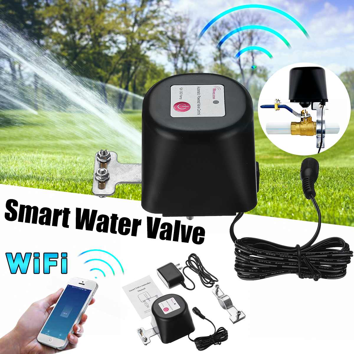 Wifi Smart Water Valve Smart Home Automation System Valve For Gas Water Control Work 12V 1A