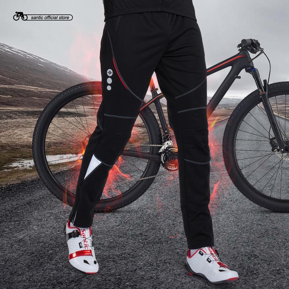 Santic Pantalones Largo de Ciclismo Hombre Acolchado Transpirable Bicicleta MTB con Badana