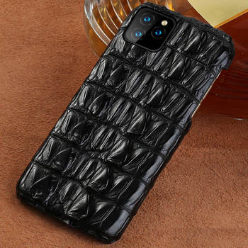 100% Genuine Crocodile Leather Phone Case For Apple iphone 11Pro 11 Pro Max XR X XS Max 6 7 8 Plus 6S 5 5S SE 2020 Luxury Cover - For iphone 7 Plus, Black