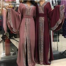 Vestido Abaya árabe musulmán con incrustaciones de piedra brillante, caftán islámico, manga de murciélago, caftán largo, ropa islámica elegante de Dubái