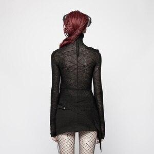 Image 3 - PUNK RAVE Neue Schwarze Dünne Punk Frauen Gestrickte T Shirt Mode Dark Hübsche Maske Styling Tees Design Brust Gothic Tops