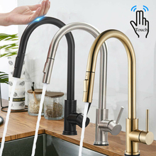 Sensor Kitchen Faucets Pull Out Black Kitchen Faucet Stainless Steel Smart Induction Mixed Tap Touch Control Sink Tap Kitchen