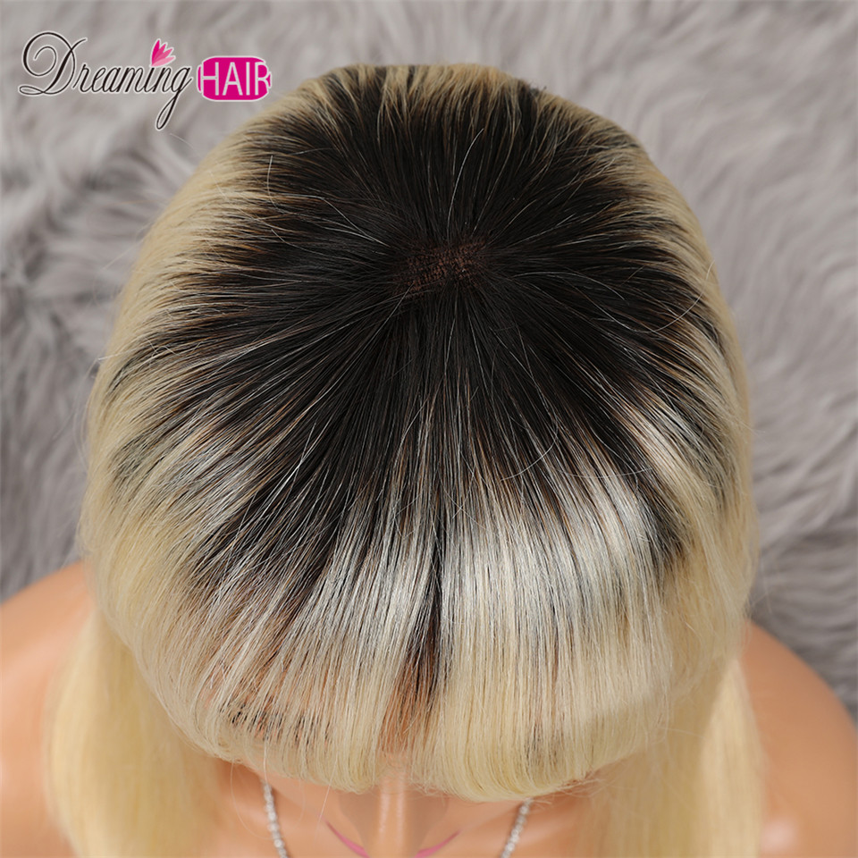 H3cdf65665d354082abd07e8d1ed11878A 613 Short Cut 13X4 Bob Lace Front Human Hair Wig with Bangs Honey Blonde Color Transparent Lace Front Wigs For White Woman