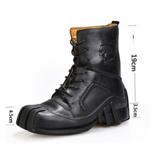 цена на Cowhide Cowboy Boots Ankle men's boots Men's Genuine Leather Punk Boots Skull Tactical Military Combat Boots Motorcycle Boots