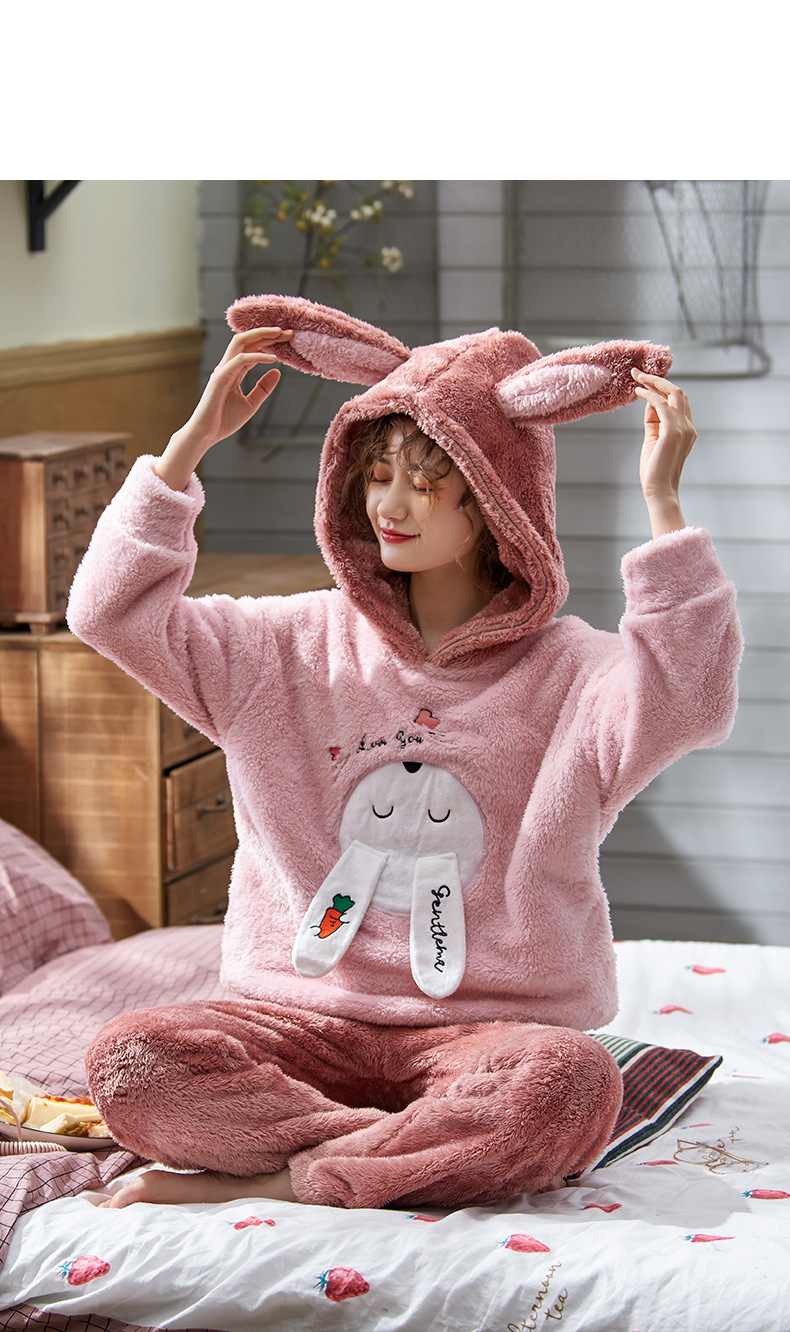 Plus Large Size M - 5XL Warm Pajamas Set Girl Women Cartoon Flannel Thickened Coral Velvet Long Sleeve Pink Rabbit Home Clothes 35
