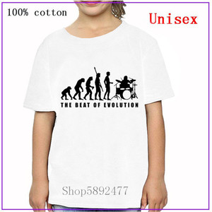 New 100%cotton Parody The Beat of Evolution drummer boys girls kids clothes T shirts Women Funny Hip Hop Music children T-shirts