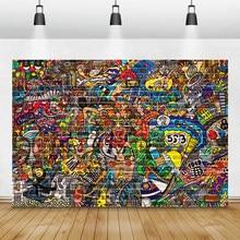 Laeacco graffiti parede de tijolos grunge retrato fotografia backdrops fundos fotográficos vinil photophone aniversário photocall