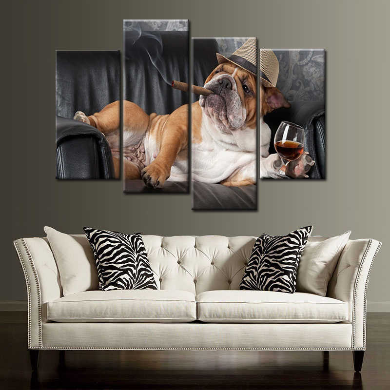 No Framed 4 Panels Dog Smoking Prints on Canvas Painting Home Wall Decoration Stickers Art Pictures for Bedroom Artwork