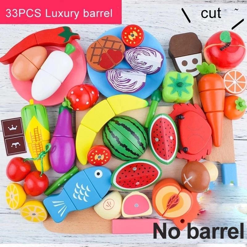 Conjunto de juguetes de simulación de frutas y verduras, corte de madera, cocina, disfraz de cocinero, niña, niño, Chico, juguete educativo, regalos