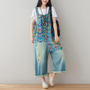 Image 2 - Helisopus Hot Vintage Printed Holes Ripped Jean Jumpsuit Plus Size Wide Legs Bib Overalls For Women Drop Crotch Denim Rompers