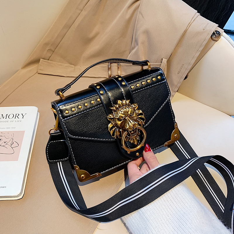 H3cdfce44e640466faa7aa09ef7e26403V - Female Fashion Handbags Popular Girls Crossbody Bags Totes Woman Metal Lion Head  Shoulder Purse Mini Square Messenger Bag