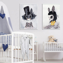 Style Miss Rabbit Bunny Nordic Decorative Painting Watercolor Animal Studio Study Childrens Room Hanging Wall