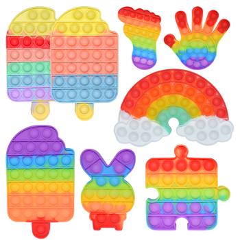 Rainbow Push Bubble Fidget anty stres zabawka sensoryczna dla dzieci Autisim gra Stress Relief Squishy proste dołek zabawki typu Fidget tanie i dobre opinie Lesion CN (pochodzenie) 25-36m 4-6y 7-12y 12 + y fidget toy Zwierzęta i Natura Fantasy i sci-fi