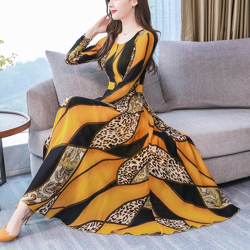 Dress Women Ropa Mujer Vestidos De Verano Dresses Vestidos Verano 2019 Mujer Robe Femme Plus Casual Print Long Sleeve S-3XL Z4