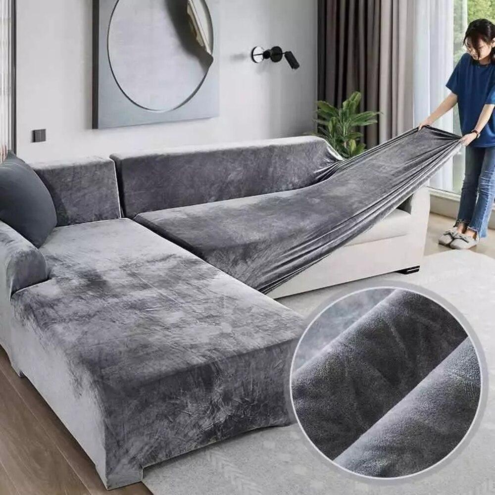 Fodere per divani in peluche elasticizzato per soggiorno poltrona angolare in velluto divano pieghe set di fodere 2 e 3 posti a forma di L uso