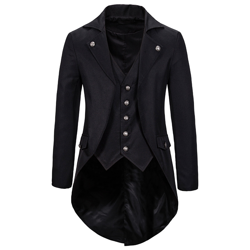 Mens Vintage Tailcoat Jacket Victorian Gothic Steampunk Costume Men Blazer Jacket Party Cosplay Prom Stage Clothes For Singers