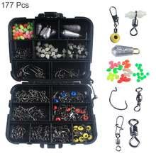 177 шт набор рыболовных принадлежностей крючки рыболовные бусины