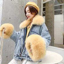 NEW 2019 winter velvet thick denim jacket female big fur collar Korean locomotiv