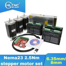 CNC DC 모터 3 pcs DM542 스테퍼 모터 드라이버 + 3 pcs Nema23 100mm 2.5Nm 모터 + 1 set mach3 + 1 pcs CNC 용 350W 36V 전원 공급 장치