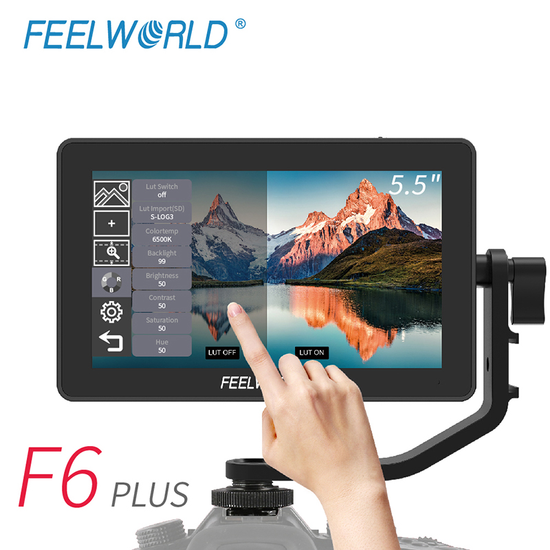 FEELWORLD F6 PLUS 5.5 Inch On Camera DSLR Field Monitor Touch Screen IPS FHD 1920x1080 Video 4K Monitor For Canon Nikon Camera