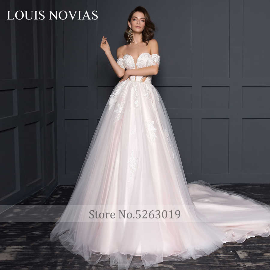 לואיס Novias חדש עיצוב סקסי פתוח חזרה באוויר פשוט מתוקה כתף כרטיס חלום תחרה חתונה שמלת יוקרה פנינים שיפון