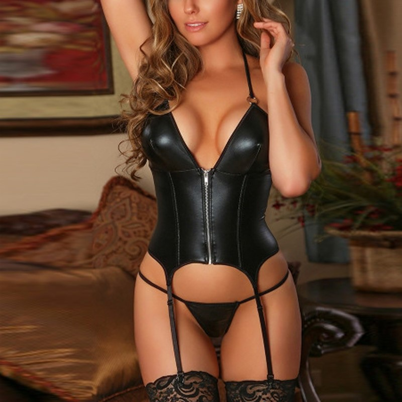 Sex Corset <font><b>Erotic</b></font> Costumes Babydoll <font><b>Sexy</b></font> Leather Lingerie Women Zipper <font><b>Underwear</b></font> Thong With Garter Lenceria <font><b>Set</b></font> Porno Teddy image