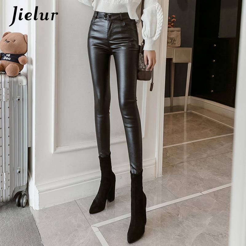 Jielur New PU Faux Leather Leggings Women 2019 Skinny Silver Red Black Pants Female Lady S-3XL Thin/Fleece Pencil Leggins Mujer