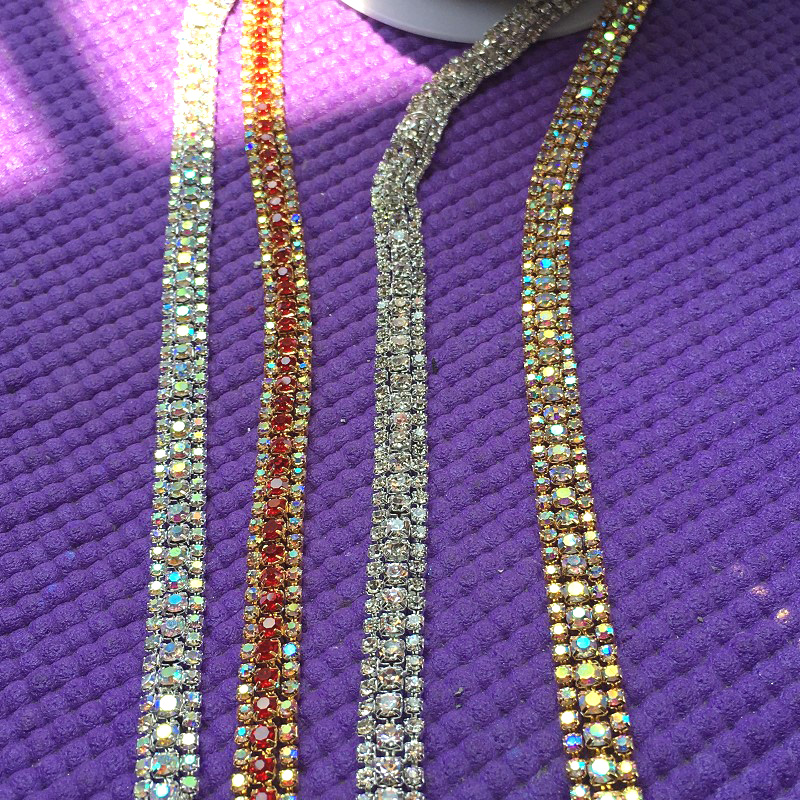 1cm think gold AB crystal chain yard trims for garments bags shoes ornaments red rhinestone chain for dress decoration DIY stone