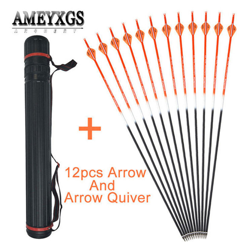 12pcs 31.5inch Mix Carbon Arrow Spine500 And Adjustable Quiver For Outdoor Sports Bow Shooting Archery Hunting Accessories