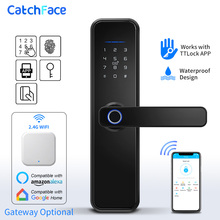 Brezilya depo WIFI App elektronik dış kapı kilidi biyometrik parmak izi kapı kilidi RFID Bluetooth akıllı dijital anahtarsız kilit TTlock