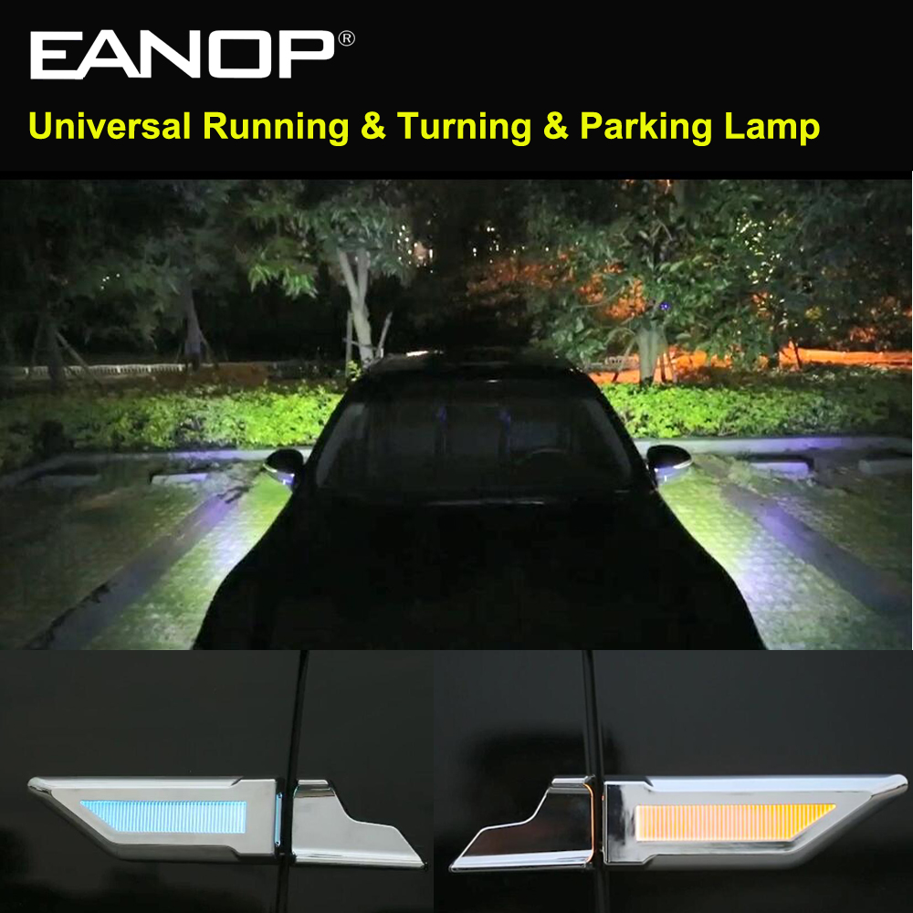 Eanop Auto Universele Led Light 3in1 12V Auto Fender Lampen Running Richtingaanwijzers Parking Licht Blauw/Geel/ witte Kleur