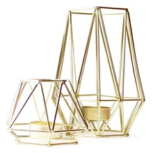 Set of 2 Gold Geometric Metal Tealight Candle Holders for Living Room & Bathroom Decorations - Centerpieces for Wedding & Dining