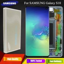3040x1440 الأصلي 6.1 S10 شاشات lcd لسامسونج غالاكسي S10 G973F/DS G973U G973 SM G973 عرض محول الأرقام بشاشة تعمل بلمس استبدال