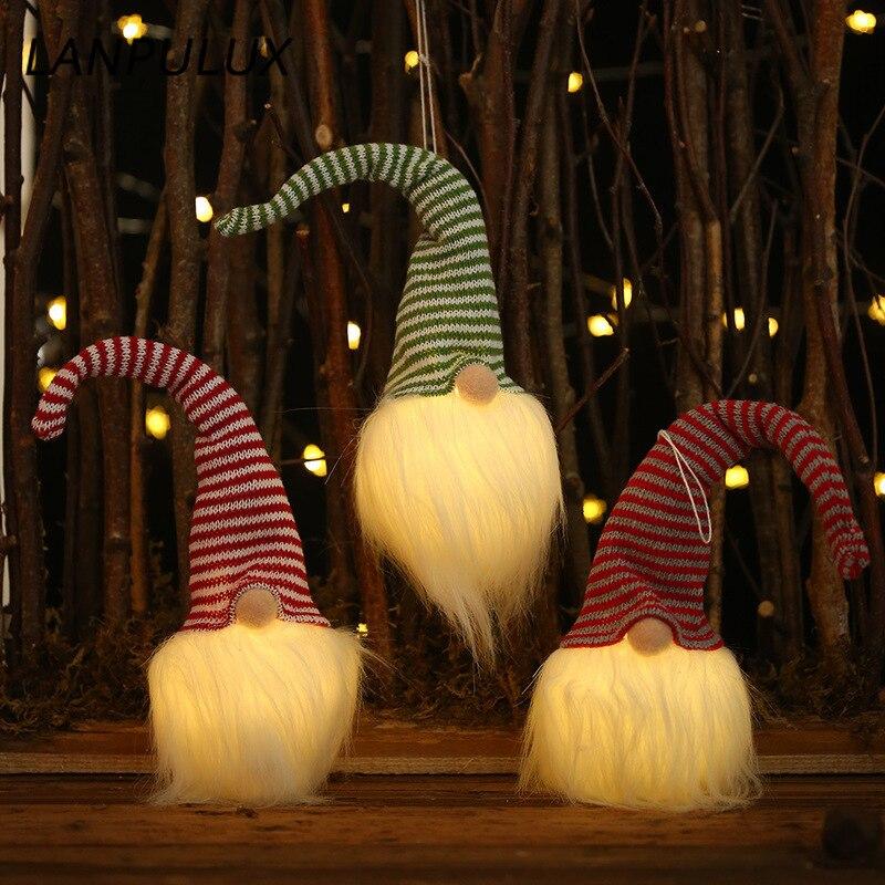 Lanpulux Glowing Moustache Striped Hat Santa Night Light Creative Holiday Lighting Christmas Tree Decorative Pendant Luminaries