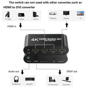 Image 5 - Interruptor HDMI 1,4 4K HDR 3x1 Adaptador, conmutador con Extractor de Audio, conector 3,5, cable de fibra óptica, divisor de arco para HDTV PS4