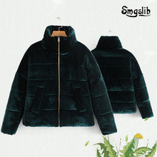 Women Vintage Green Velvet Turtleneck Cotton Jacket Winter Coat Tops Long sleeve Parkas Casual Coats Female Outerwear N590