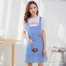 Korean style kitchen waterproof apron home cleaning oil-proof work clothes coffee manicure cute bear apron wq002 kitchen oil proof cloth apron black