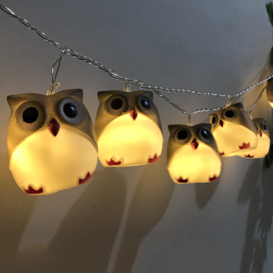 Thrisdar 1.5M 10 LED Cartoon Owl Fairy String Light Halloween Christmas Owl Night Light Garden Party Wedding Owl Garland Light