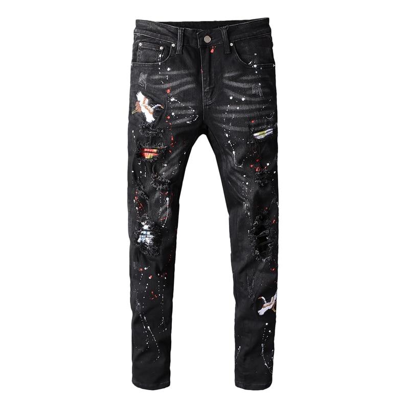 Fashion Streetwear Men Jeans Destroyed Ripped Jeans Men Elastic Punk Pants Paint Embroidery Designer Hip Hop Skinny Jeans Homme