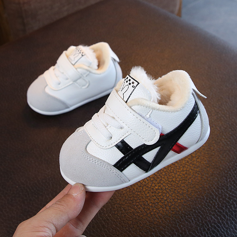 Fur Net Striped Sports Babyshower Toddler Baby Girls Shoes Boys Casual First Walkers Matching Colors Tennis Sneakers All Season