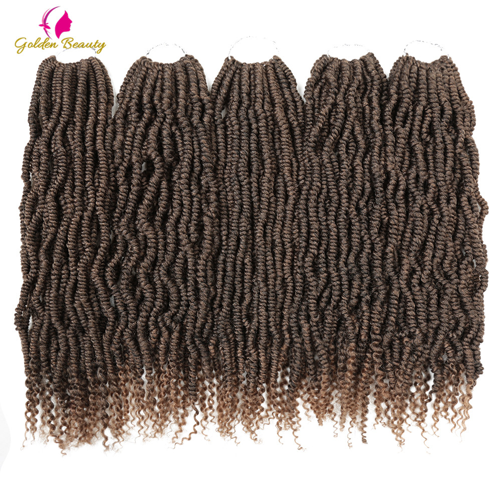 Golden Beauty 14 Bomb Twist Crochet Braids Synthetic Spring Braiding Hair Extensions Nubian 24 Strands