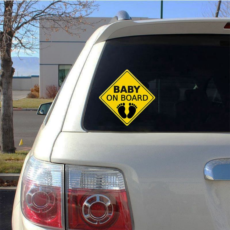 """Baby On Board SAFETY Car Window Suction Cup Yellow REFLECTIVE Warning Sign 5x5/"""""""