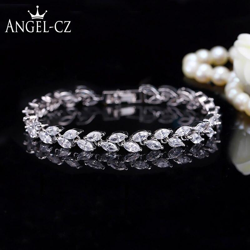 ANGELCZ mode feuilles coupe AAA zircon cubique dames Tennis Bracelet haute qualité argent 925 CZ bijoux pour cadeau de mariage AB113